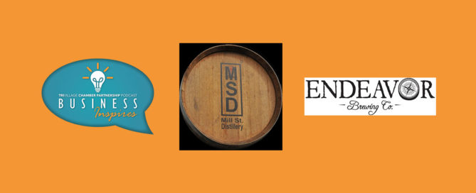 Logos for Mill Street Distillery and Endeavor Brewing Business Inspires Podcast